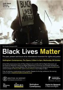 Poster for Black Lives Matter Conference in Nottingham, England (October 2015)