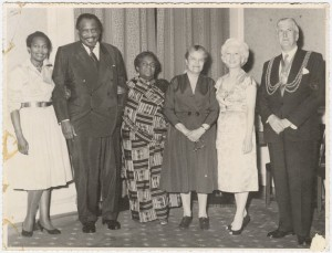 Claudia Jones, Paul Robeson, Amy Ashwood Garvey, Eslanda (Essie) Robeson, and unidentified couple (1959) New York Public Library Digital Collections