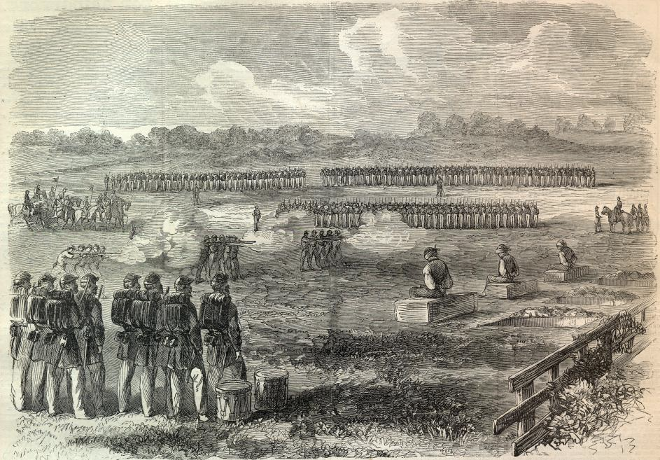 """Condemned deserters were ritually executed during the Civil War: the men would sit on their coffins next to their graves while their comrades stood watching. """"Execution of Deserters,"""" Harper's Weekly (August 8, 1863)."""