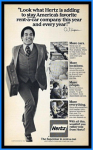 O.J. Simpson, Hertz Advertisement (Pinterest)
