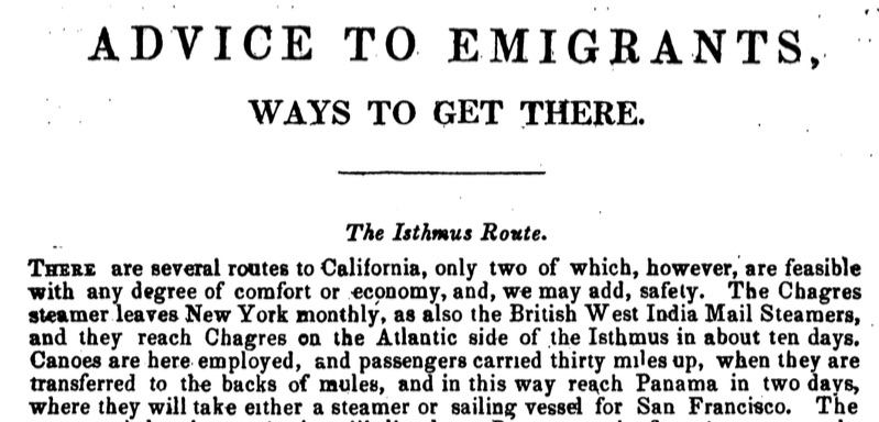 Clip from The Emigrant's Guide to the Gold Mines by Henry I. Simpson (New York: Joyce and Co., 1848).