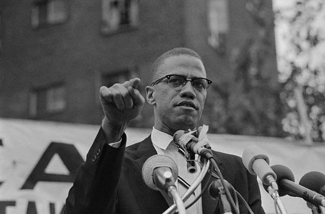 Malcolm X in Harlem rally. Meeting, at which Malcolm X restated Muslim theme of complete separation of whites and negroes, outdrew a rally sponsored by a civil rights group 10 to 1. This meeting, of the Mississippi-Alabama Southern Relief Committee, was going on at the same time some six blocks away.