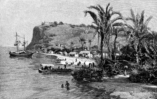 Old Chagres harbor, 1850 (Credit: www.panamarailroad.org)