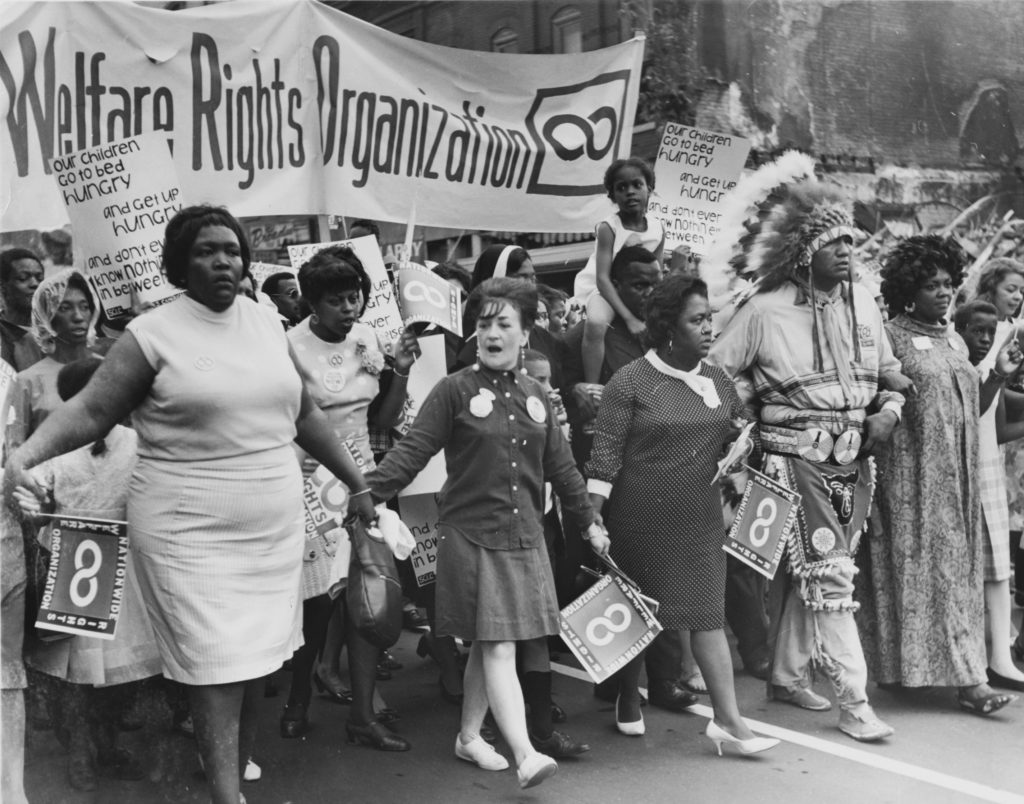 Organizers and volunteers from the National Welfare Rights Organization, marching to end hunger in 1968.