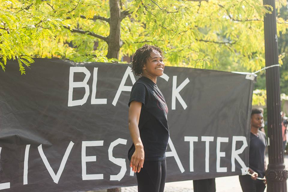 One of the organizers for Cornell BSU's Black Lives Matter Rally, September 23, 2016 (Credit Julia Cole Photography)