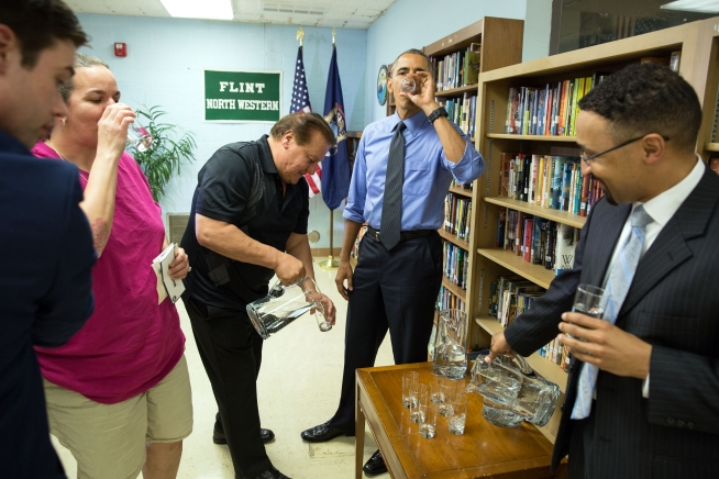 President Barack Obama sips filtered water from Flint following a roundtable on the Flint Water Crisis, May 4, 2016