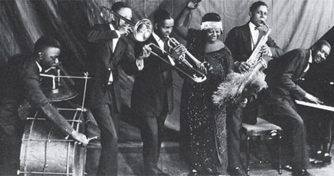 Ma Rainey, pictured in 1925, with her band.
