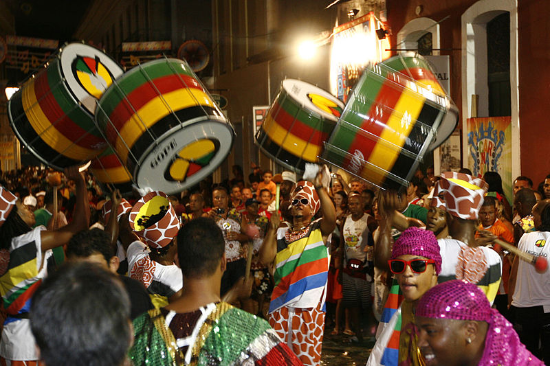 Olodum drummers at Carnaval in the Historic Center of Salvador de Bahia, Brazil (Credit Roberto Viana/AGECOM)