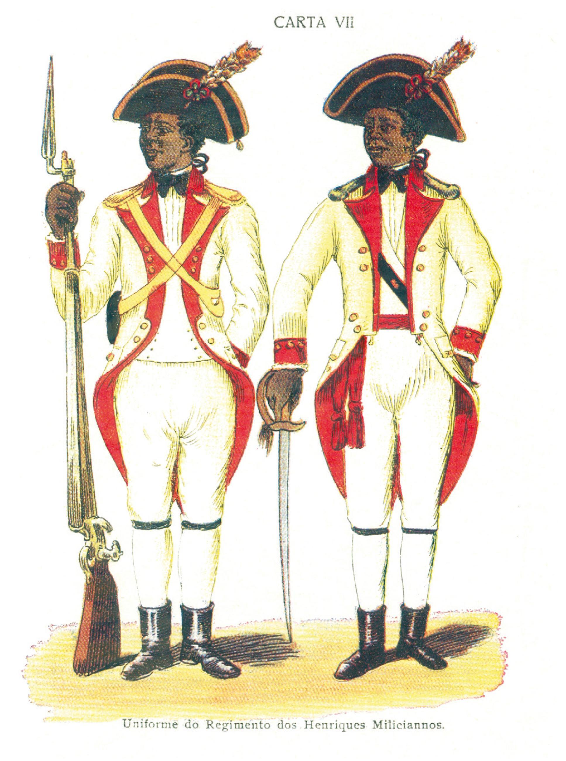 Free colored soldiers. Source: Luis dos Santos Vilhena, A Bahia no Século XVIII (Editôra Itapuã: Bahia, 1969).