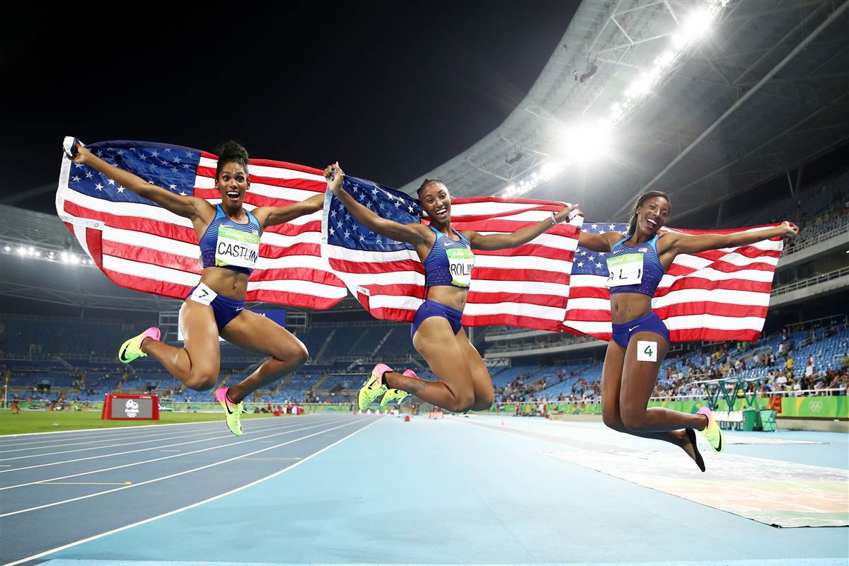 Kristi Castlin, Brianna Rollins, and Nia Ali. Rio 2016 Olympic Games, August 17, 2016. Source: Cameron Spencer / Getty Images.
