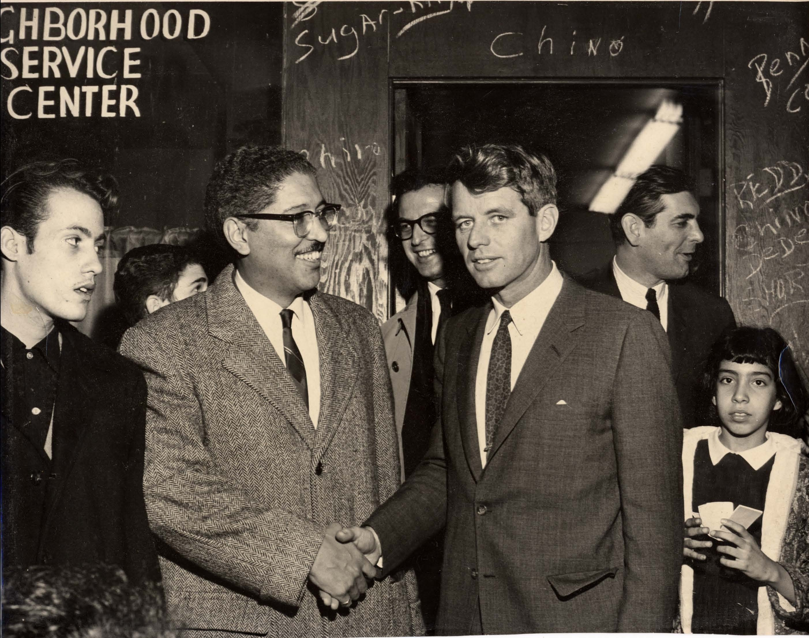 Manny Diaz giving a tour to Attorney General Robert F. Kennedy on the Lower East Side, c. 1963 (Courtesy of Andrea Diaz)