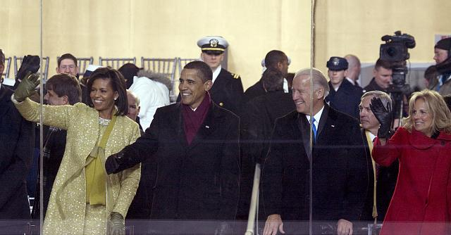 Michelle and Barack Obama with Joe and Jill Biden at the 2009 Inaugural Parade (Credit Photographs in the Carol M. Highsmith Archive, Library of Congress, Prints and Photographs Division)