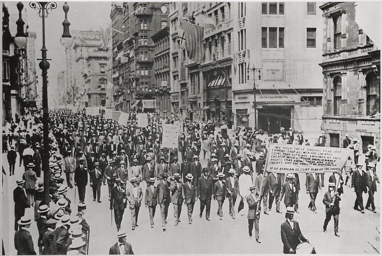 Silent Protest parade on Fifth Avenue, New York City, July 28, 1917, in response to the East St. Louis race riot. The front row includes James Weldon Johnson (far right) and W. E. B. DuBois (2nd from right) (Credit: Schomburg Center Prints and Photographs Division)