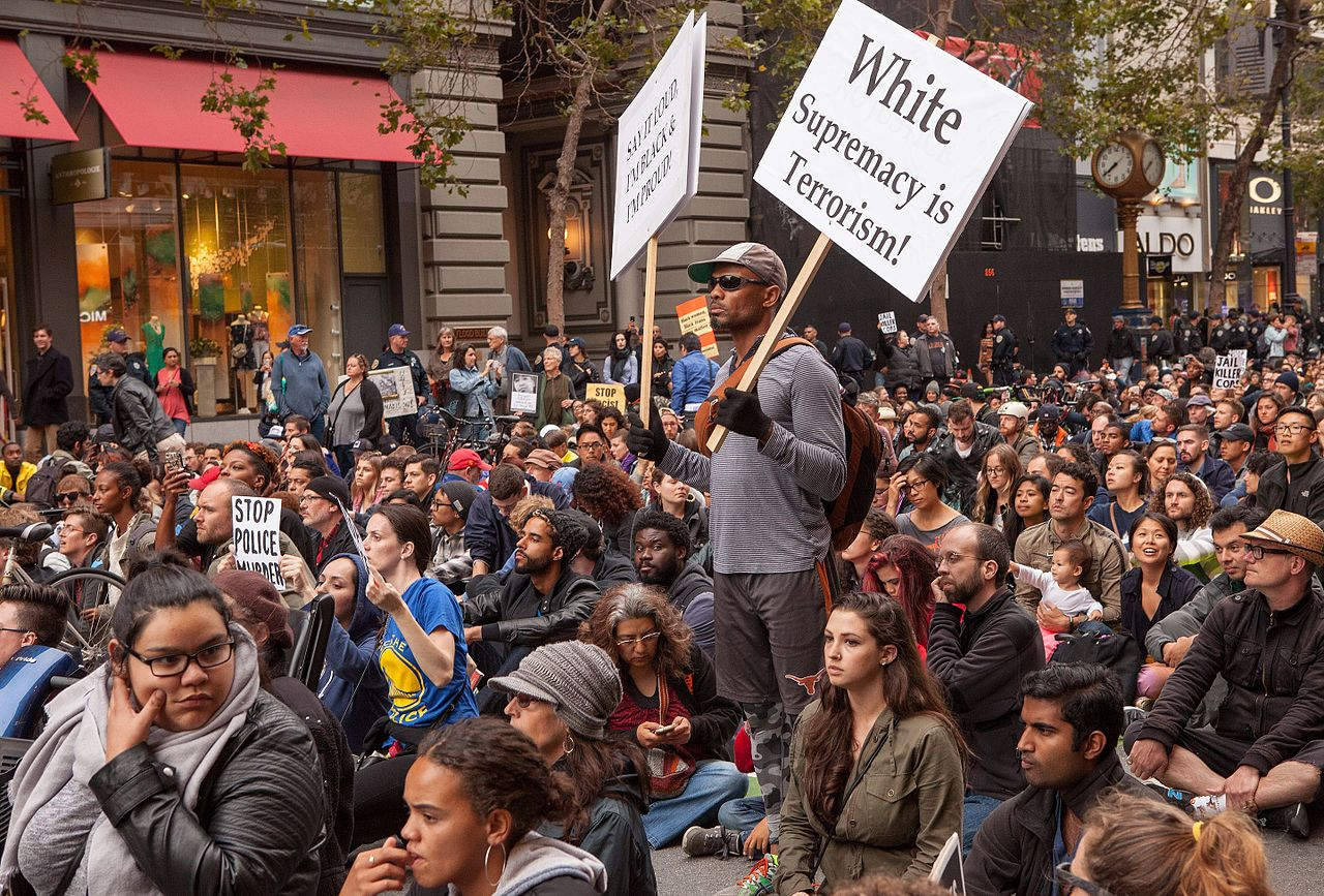 Sit-in protesting police violence in San-Francisco, June 2016 Photo credit: Wikimedia Commons
