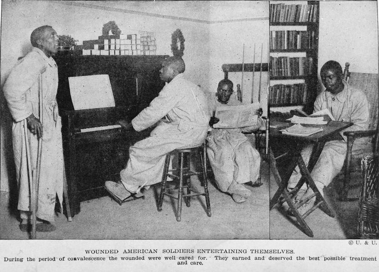 Wounded African American Soldiers Convalescing during World War I (Credit: From The New York Public Library)