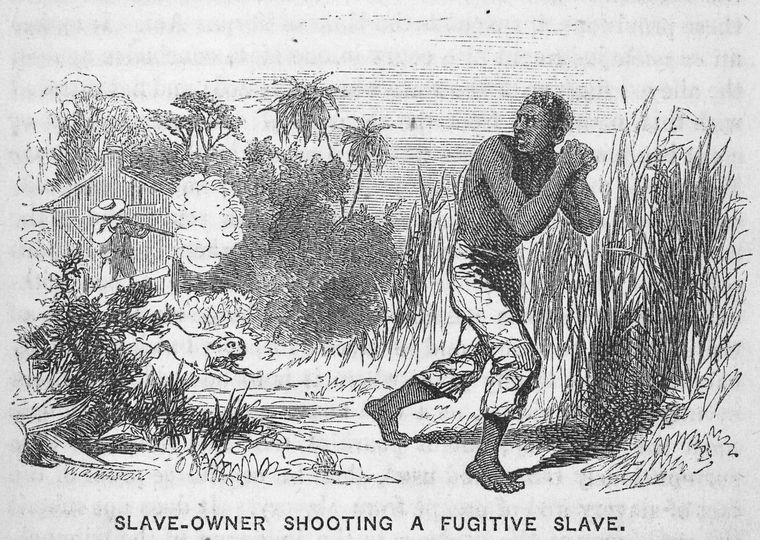 "Schomburg Center for Research in Black Culture, Manuscripts, Archives and Rare Books Division, The New York Public Library. ""Slave-owner shooting a fugitive slave."" The New York Public Library Digital Collections. 1853. http://digitalcollections.nypl.org/items/510d47da-75ac-a3d9-e040-e00a18064a99"