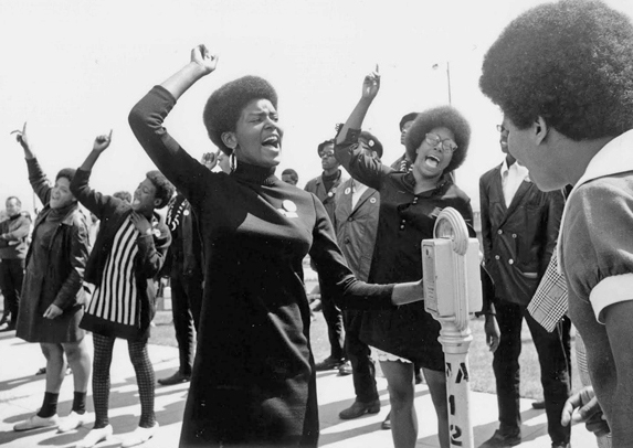 Black Panther Party members rally in 1968.