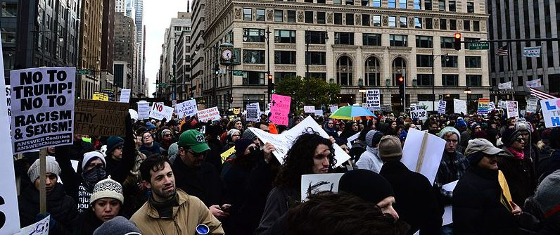 Anti-Trump Protest in Chicago, IL, from Federal Plaza to Trump Tower, November 19, 2016 (Photo credit: Ben Alexander)