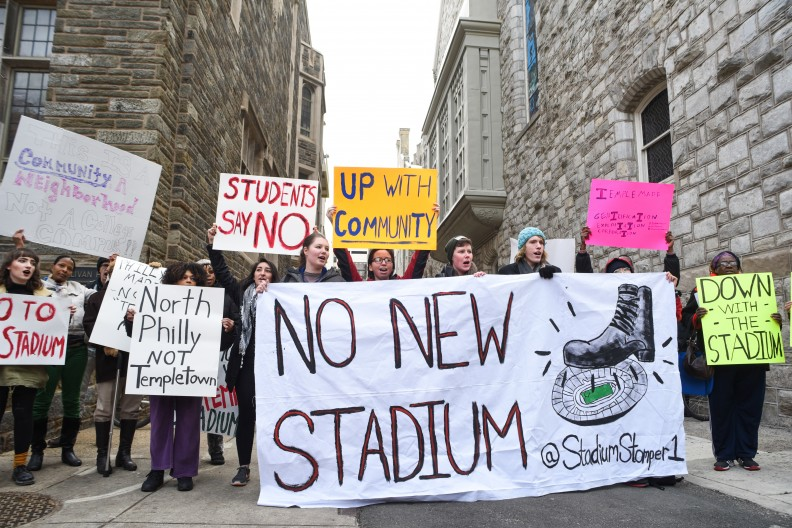 The Stadium Stompers Association protest at Temple University. Source: The Temple News.