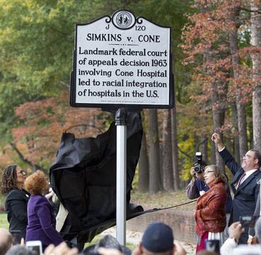 Sign commemorating the Simkins case. (Source: Greensboro Medical Society.)