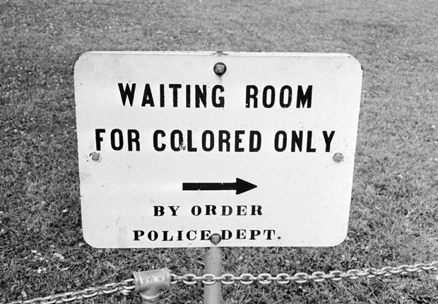 Sign from a segregated medical facility in Jackson, Mississippi, 1961. (Photo by William Lovelace)