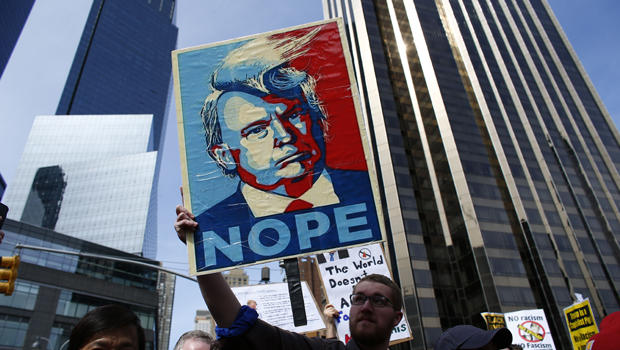 Protest against Donald Trump in New York City. Source: CBS News.