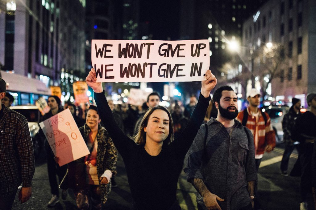 Protests against Donald Trump. Source: People.