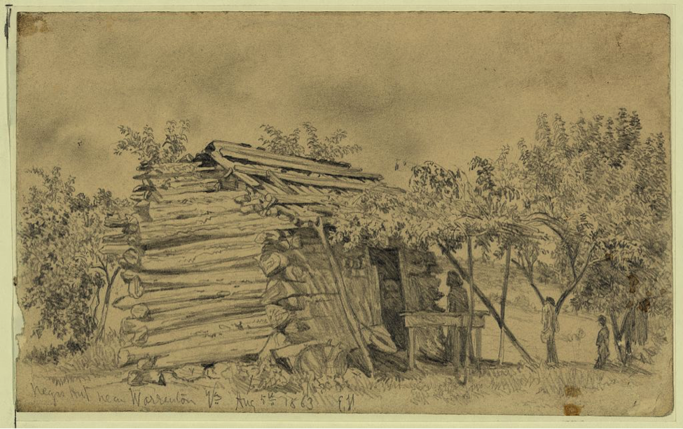 Edwin Forbes, Slave cabin near Warrenton, Va. 1863. Image: Library of Congress.