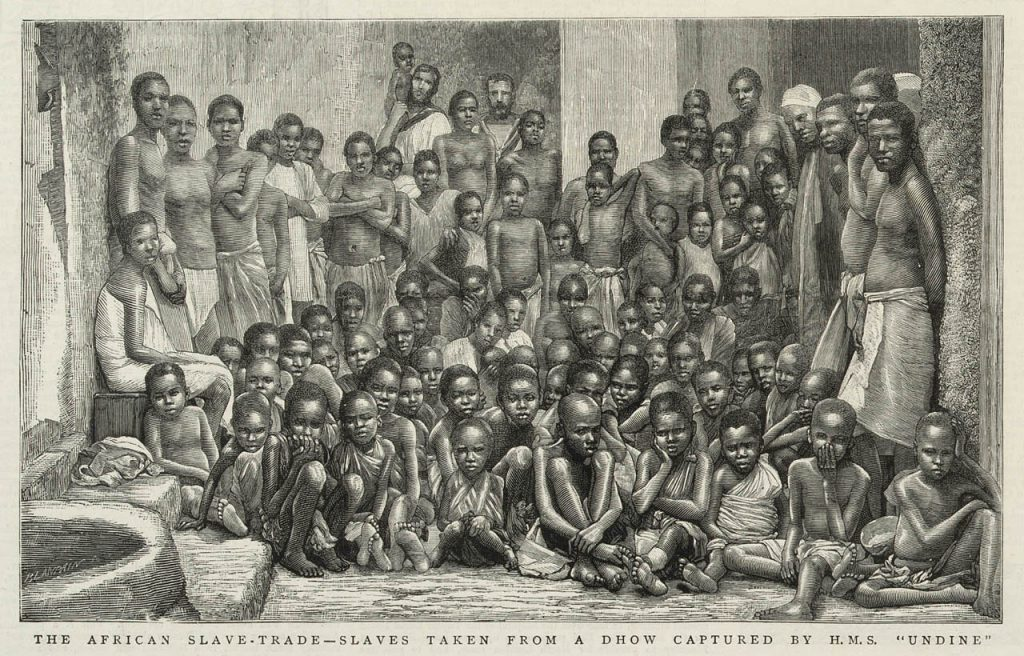 """The African Slave-Trade -- Slaves taken from a dhow captured by H.M.S. 'Undine'."" The Graphic, June 7, 1884. Photo: National Maritime Museum."