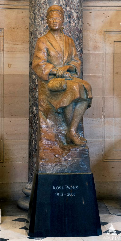 Rosa Parks statue in the US Capitol. Photo: Architect of the Capitol.
