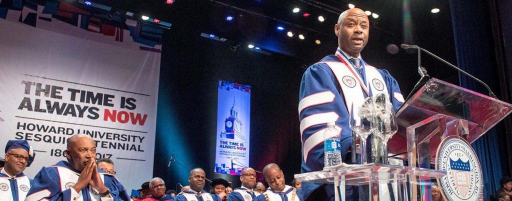 Mark Mason speaks at Howard's 150th Charter Day celebration. Photo: Howard University.