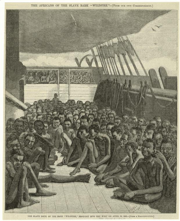"""The slave deck of the bark Wildfire, brought into Key West on April 30, 1860."" Photo: NYPL Digital Collections."