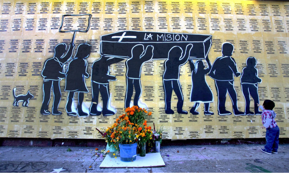 An anti-gentrification mural in San Francisco's Mission District. Photo: S.F. Examiner.