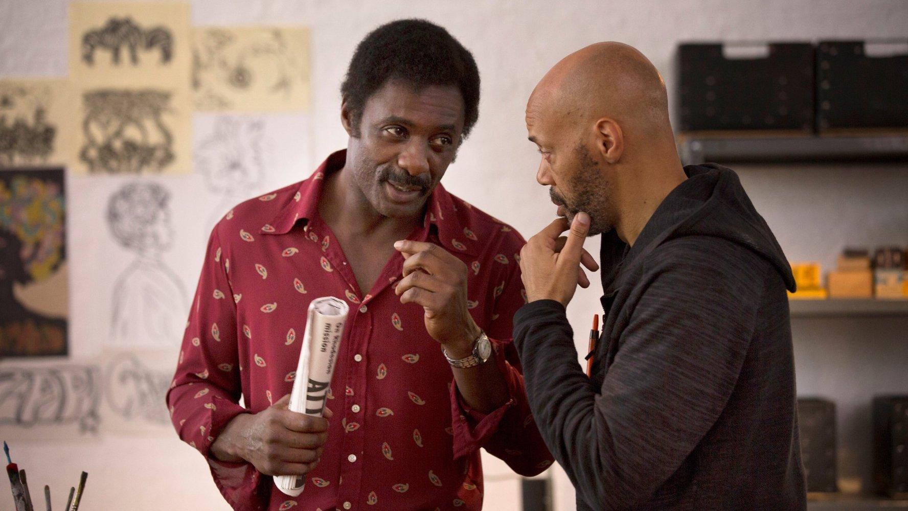Idris Elba and John Ridley on the set of Guerrilla. Photo: IMDB.