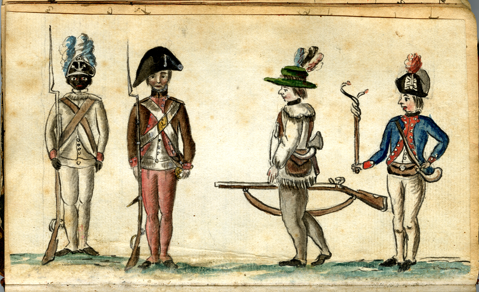Soldiers at the siege of Yorktown, including an African American soldier of the 1st Rhode Island Regiment, by Jean-Baptiste-Antoine DeVerger, 1781. (Anne S. K. Brown Military Collection, Brown University).