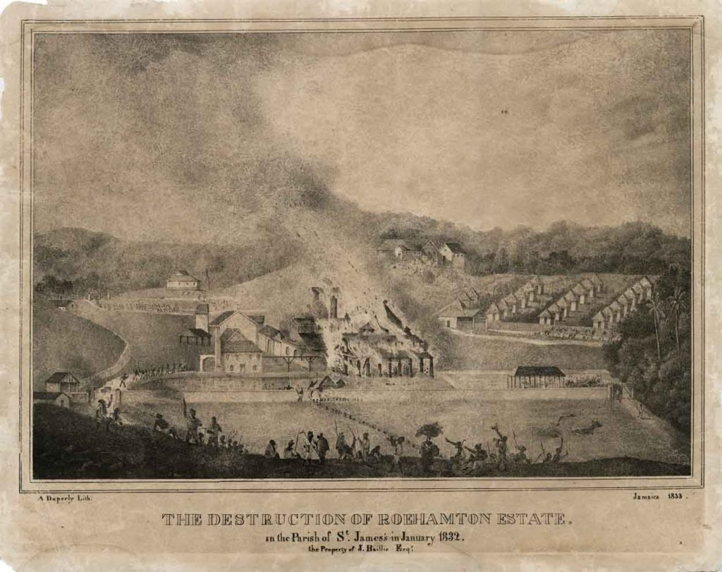 Destruction of Roehampton Estate, St. James, Jamaica, 1832. Photo: National Library of Jamaica.