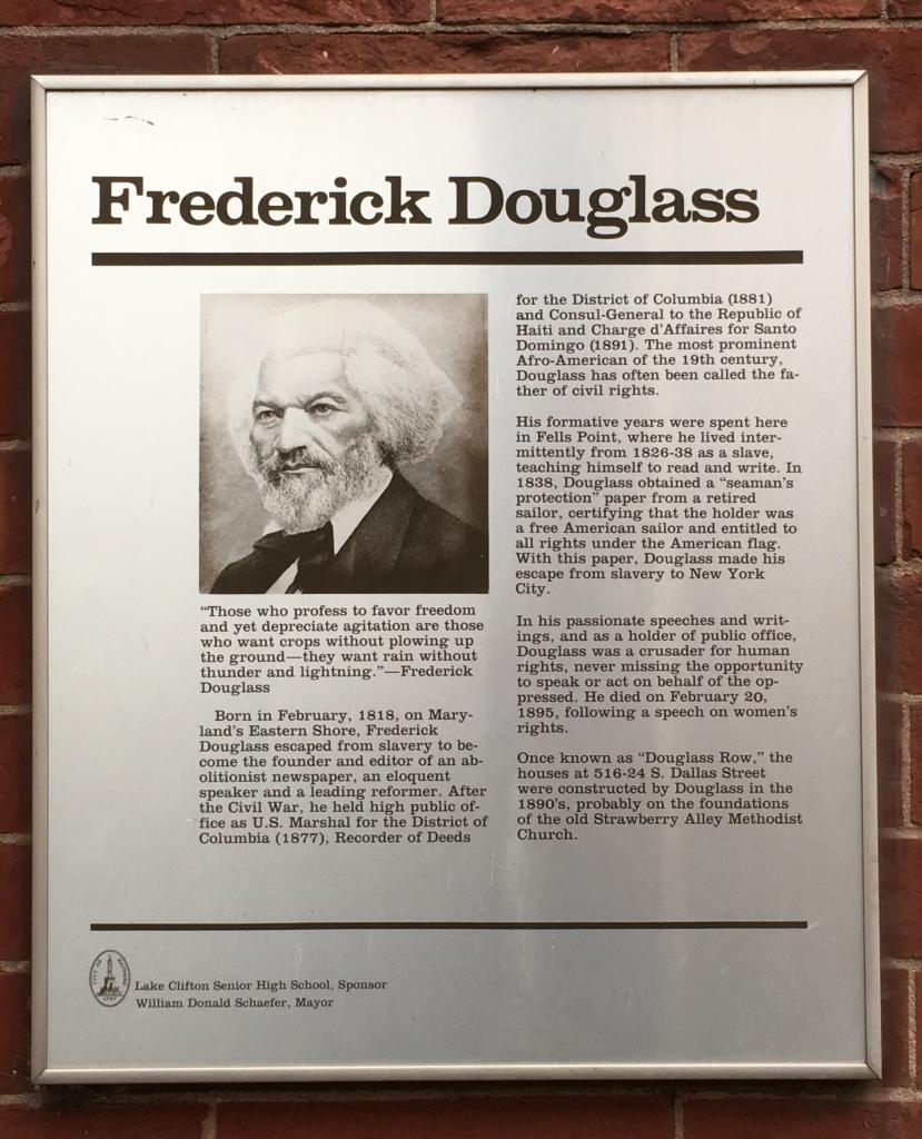 Plaque on Douglass Row. Photo: Author.