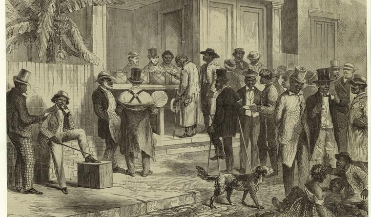 """Freedmen Voting in New Orleans,"" engraving, 1867. Photo: New York Public Library Digital Collections."