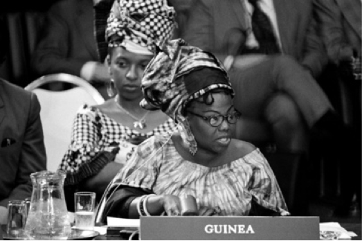 Jeanne-Martin Cissé addressing the UN Security Council, 1973. Photo: UN/Yutaka Nagata.