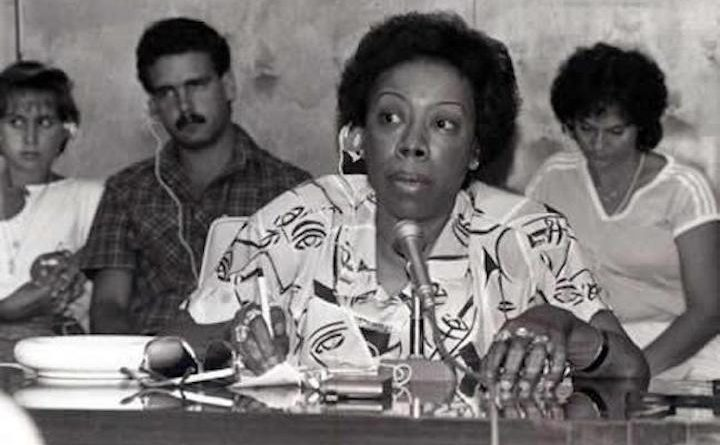 Gwen Patton speaking at the University of Cuba in Havana. Photo: Trenholm State Community College Libraries.