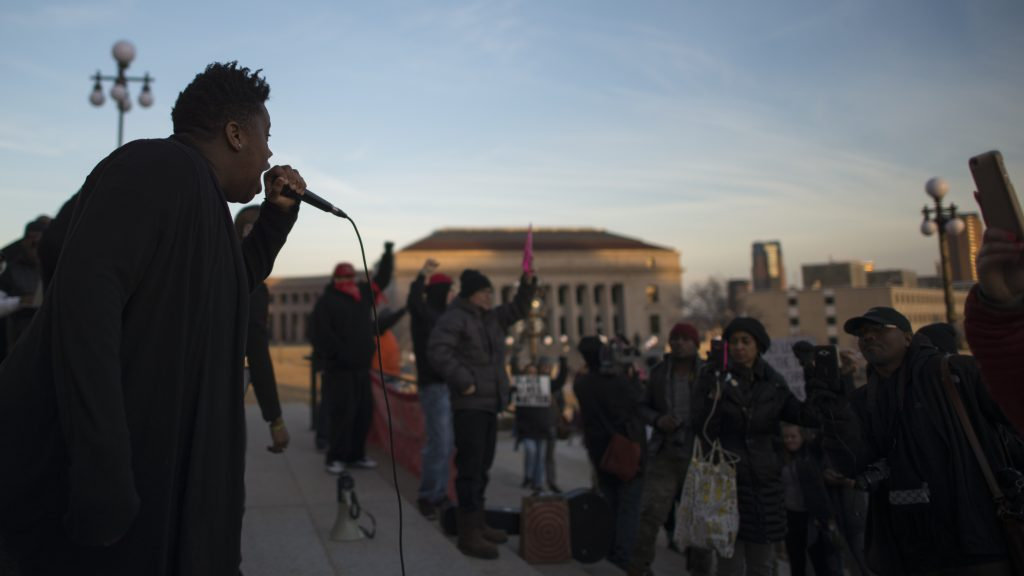 Speaker at a rally to protect the right to peacefully assemble, St. Paul, Minnesota, February 2017. Photo: Flickr/Fibonacci Blue.
