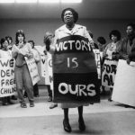 Albertina Sisulu briefs protestors, Johannesburg, 1984, by Paul Weinberg. Photo: University of Cape Town Libraries.