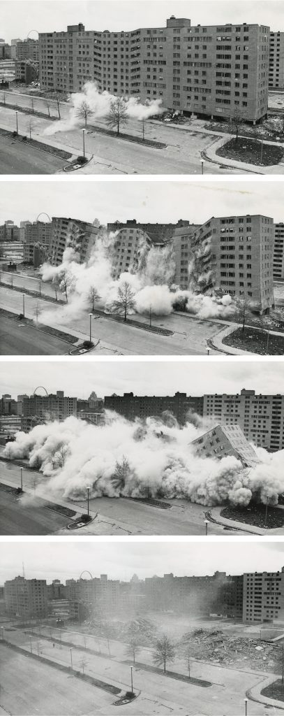 The second, widely televised demolition of a Pruitt-Igoe building that followed the initial March 16 demolition, April 1972. Photo: U.S. Department of Housing and Urban Development/Wikimedia.