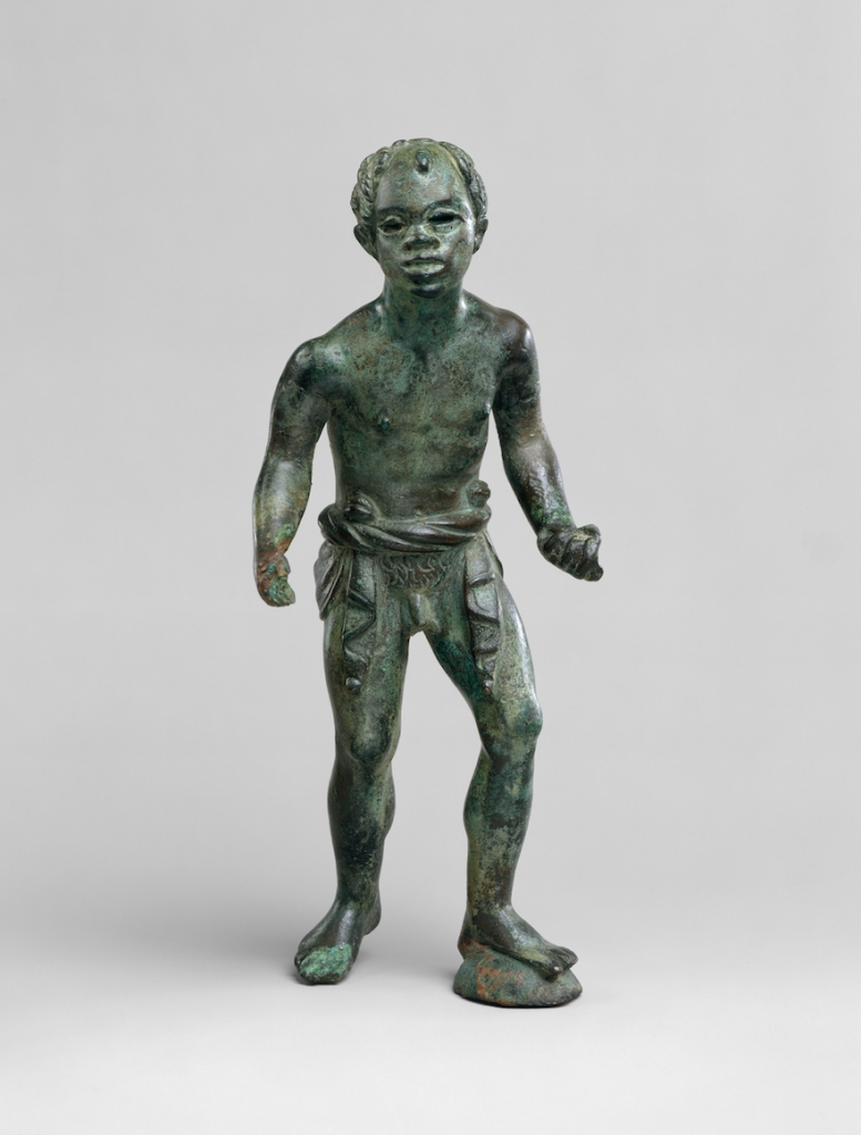 Bronze statuette of an African (known as Ethiopian) youth, 3rd-2nd century B.C., Greek. Rogers Fund, 1918, Accession no. 18.145.10. Photo: Metropolitan Museum of Art.