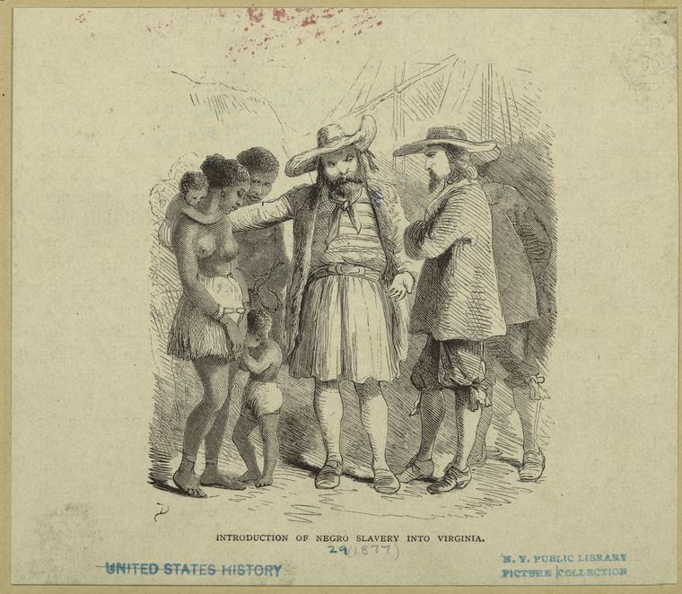"""""""Introduction of negro slavery into Virginia."""" 1877. Art and Picture Collection, The New York Public Library Digital Collections."""