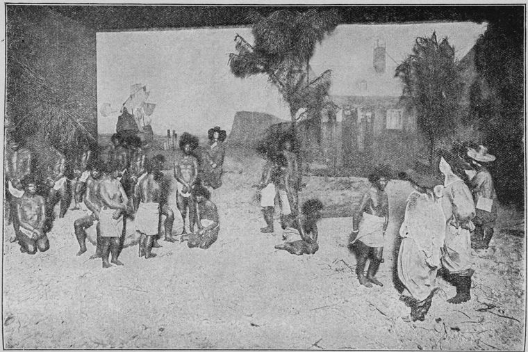 """Schomburg Center for Research in Black Culture, Jean Blackwell Hutson Research and Reference Division, The New York Public Library. """"Landing of first twenty slaves at Jamestown."""" The New York Public Library Digital Collections. 1911."""