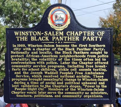 Plaque memorializing the Winston-Salem Chapter of the Black Panthers. Photo: Forsyth County Historic Resources Commission.