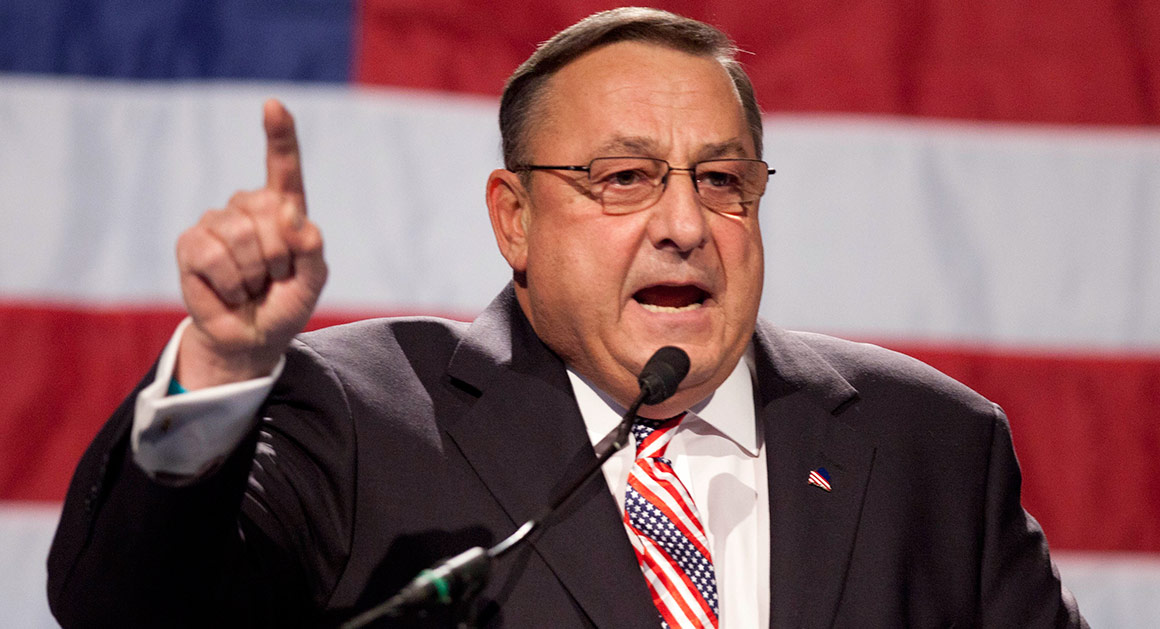 FILE - In this file photo made Sunday, May 6, 2012, Gov. Paul LePage speaks at the Maine GOP convention. In his effort to cut state spending, Gov. LePage proposed revamping the state's Medicaid program. Supporters of the cuts say spending is unsustainable and that Maine provides Medicaid coverage to 35 percent more of the population that the national average. (AP Photo/Robert F. Bukaty, File)