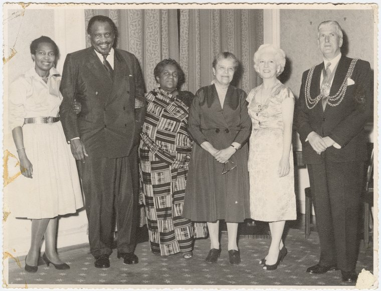 Claudia Jones, Paul Robeson, Amy Ashwood, Eslanda Robeson, and unidentified couple (1959)