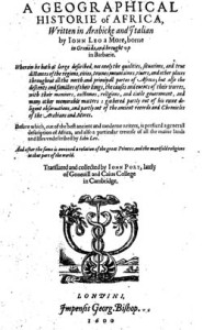 The title page of Pory's translation in 1600 of Africanus's book.